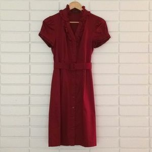 The Limited Red Button-Down Dress with Belt